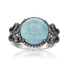 This larimar and diamond butterfly ring is designed with a black rhodium finish for a vintage look.