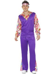 Budget Hippy Costume featuring a psychedelic printed shirt, a bright purple waistcoat and matching flared trousers.