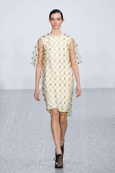 Chloé Fall 2013. Short sleeve tunic with a bead net/wire net dress on top.