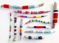 Driftwood art by Alisa Burke Painted Driftwood, Driftwood Art, Driftwood Projects, Yarn Projects, Driftwood Ideas, Kid Projects, Alisa Burke, Stick Art, Painted Sticks
