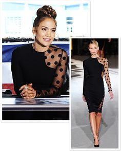 Jennifer Lopez wore this dress in Jan. 2012 on American Idol. The designer is Stella McCartney and this is from her 2011 collection. Kate Winslet also owns this dress.  I LOVE/WANT this dress!!!!