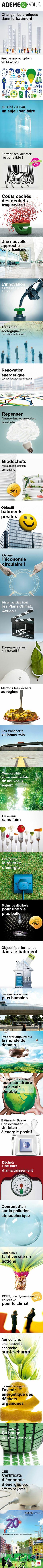 Ademe & vous, les couv de dossiers du journal de l'Agence de l'Environnement et de la Maîtrise de l'Energie