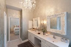 3 It S So Glam Even The Wallpaper Has Mirrors Notice Vanity Support Is Mirrored Too Home Decor Bathrooms Pinterest Bathroom
