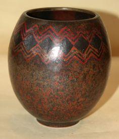 Claudius Linossier Copper and Silver Dinanderie Vase.