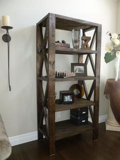 Rustic Bookcase Do It Yourself Home Projects from Ana White Diy Wood Projects, Furniture Projects, Furniture Plans, Rustic Furniture, Home Projects, Home Furniture, Building Furniture, Ana White Furniture, Diy Furniture Making