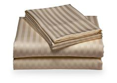 """400 Thread Count Egyptian Cotton Stripe Beige Olympic Queen Sheet Set by Scala. $52.99. 1 Fitted Sheet. 2 Standard Size Pillow Cases. 1 Flat Sheet. Set includes : 1 Fitted Sheet, 1 Flat sheet, 2 Pillowcases, Olympic Queen Size: One Flat Sheet 98""""x102"""", One Fitted Sheet 66""""x80"""", Two Pillowcases 20""""x30"""". Material: 100% Egyptian cotton, Single-ply, Care instructions: Machine washable."""