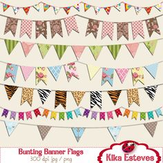 Bunting Flag Banner Digtal Clipart Scrapbooking by kikaesteves Flag Banners, Bunting Banner, Diy Banner, Banner Ideas, Paper Art, Paper Crafts, Printable Planner Stickers, Printables, Clipart