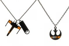 New Black Squadron themed necklaces - The Kessel Runway Star Wars Jewelry, Geek Jewelry, Jewelry Accessories, Jewellery, X Wing Fighter, Carrie Fisher, Old And New, Two By Two, Geek Stuff
