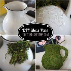 Click here to check out how to make a super easy DIY moss vase, which can be used for home or wedding decor.Upcycledtreasures.com