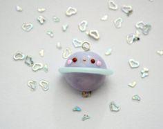 Encanto del planeta kawaii, kawaii planificador encanto, collar kawaii, arcilla del polímero joyería, joyas de arcilla de polímero, joyas del espacio, espacio de kawaii