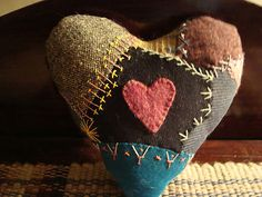 Vintage Hand Embroidered Valentine's Day Crazy Quilt Stuffed Heart * DIY Pattern & Sewing Inspiration * Perfect use for vintage fabrics and trims! My Funny Valentine, Valentine Heart, Valentine Crafts, Valentines, Patchwork Heart, Crazy Patchwork, Crazy Quilting, Fabric Hearts, Heart Pillow