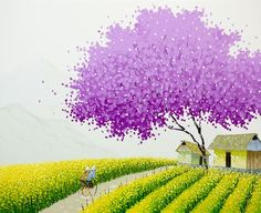 Born in Hanoi, artist Phan Thu Trang paints decorative landscapes inspired by images of the city and Northern villages of Vietnam. In her colorful yet minimalistic paintings she works with limited colors and textures, focusing on only bare essentials to create each piece centered around billowin
