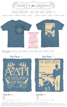 ADPi | Alpha Delta Pi | Great Gatsby | Formal | Date Night | Semi-Formal | Socials | Tshirt Ideas | Simple Design | shirtsforgreeks.com