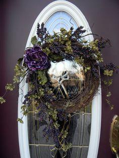 Spring Summer Fall Grapevine Door Wreath Decor...via Etsy.