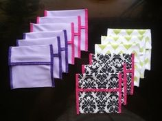"""Reusable Pads should have reusable wrappers! Mama Cloth Wrappers 3 for $10  Approx 4"""" x 3 3/4"""" PUL Wet Bag Fabric"""