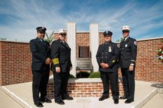 Nanticoke firefighters stand before 9/11 memorial at LCCC's Walk of Honor