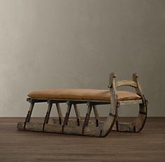 take a vintage sled and add a cushioned seat - so cool!