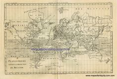 Planisphere, Antique World Map - Antique Maps and Charts – Original, Vintage, Rare Historical Antique Maps, Charts, Prints, Reproductions of Maps and Charts of Antiquity