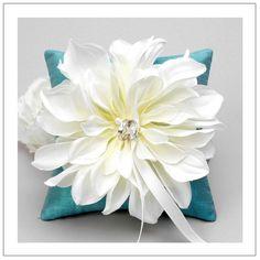 Cream bloom on teal silk dupioni wedding ring pillow