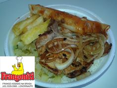 Prato do dia: Bisteca de porco, panqueca de carne, mandioca frita, caxi refogado, mais arroz com feijão e salada para acompanhar