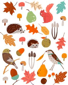 Image © Lucy Banaji Lucy Banaji is a freelance pattern designer and illustrator living in London. She works from her studio in Hackney making pen and ink drawings come to life in Illustrator. Autumn Illustration, Plant Illustration, Cute Illustration, Pattern Art, Print Patterns, Pattern Design, Thanksgiving Wallpaper, Autumn Art, Pictures To Paint