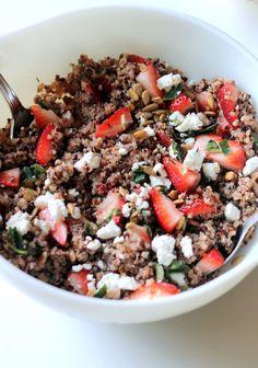 Fresh Strawberry Basil Quinoa Salad with Goat Cheese, Sunflower Seeds & Lemon Vinaigrette
