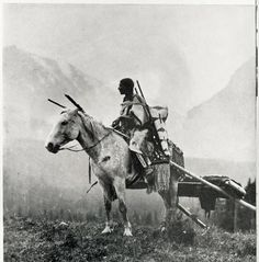 Blackfeet woman on a horse with travois :: UM-Photo Archives, name, location and date unknown.