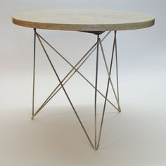 1c59004f5780 Items similar to Mid-Century Round End Table with Cast Faux Stone Top and  Wire Base by Ginnyhall Mfg. on Etsy