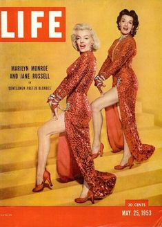 May 25, 1953 - Marilyn and Jane Russell, promoting their film, Gentlemen Prefer Blondes .