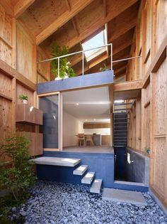 A home with no outside or in, neither finished, nor unfinished. A tiny lot and a very different architectural solution.  Share your thoughts after viewing the full album and plans on our site at  http://theownerbuildernetwork.com.au/small-homes-2/house-in-seya-makoto-tanijiri/