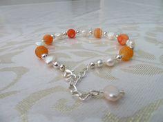 Orange cracked agate/pearl/silver plated adjustable bracelet by JewelInfinityBeyond on Etsy