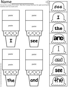 Sight Word Scoops! (Color, cut and paste) Ice Cream Scoops for EVERY sight word!