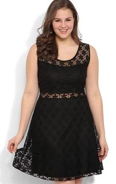 Deb Shops Plus Size Daisy Crochet Lace Skater Dress with Illusion Waist
