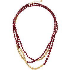 Nakamol Long Merlot Quartz Beaded Necklace ($56) ❤ liked on Polyvore featuring jewelry, necklaces, red, long charm necklace, red jewelry, beads & charms, charm necklace and quartz charm