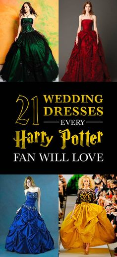 Check it out Potter Heads! 21 Magical Wedding Dresses Harry Potter Fans Will Adore Harry Potter Mode, Harry Potter Style, Theme Harry Potter, Harry James Potter, Harry Potter Fandom, Harry Potter Wedding Dress, Harry Potter Dress, Harry Potter Outfits, Harry Potter Fashion