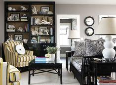 Suzie: Michael Partenio - Fun, eclectic black & yellow den design with gorgeous gray walls, ...