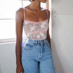 SOLD Vintage sheer flocked floral mesh cami for a size XS. Has adjustable straps. Aesthetic Fashion, Aesthetic Clothes, Look Fashion, 90s Fashion, Fashion Outfits, Fashion Tips, Fashion Trends, Aesthetic Outfit, 90s Aesthetic