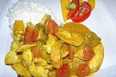 Anklicken zum Vergrößern von Hähnchencurry mit Mango und Kokosmilch