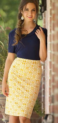 Love this new Geo Prints Skirt! In this mustard color and coming in navy soon! Comfortable knit material, fully lined, a touch of spandex on the back of the waist. Selling fast so grab one!