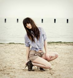#stripes #polo #shirt #shorts Striped Button Up, Shorts, Heels, Http://Www.Jaglever.Com