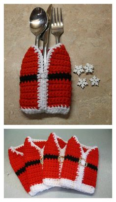 Santas Vest Cutlery Holder Free Crochet Pattern