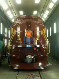 Norfolk Southern Heritage: The Pennsylvania Railroad Engine is almost finished and ready to leave the shop.