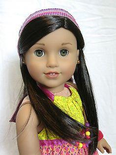 Breathtaking-Custom-American-Girl-Doll-Lea-black-brown-hair-earrings