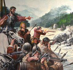"""Francisco de Orellana y sus hombres combatiendo contra los nativos """"caribes"""" en el Amazonas. http://www.elgrancapitan.org/foro/viewtopic.php?f=21&t=16835&p=910602#p910602"""