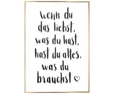 Gerahmter Digitaldruck Alles Was Du Brauchst Druck: Weiß S- Gerahmter Digi Framed Digital Print Everything You Need Print: White S- Framed Digi The Words, Love Quotes, Inspirational Quotes, Decir No, Hand Lettering, Texts, Digital Prints, Love You, Wisdom