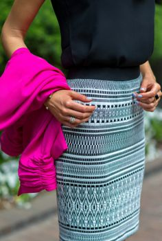 black and white aztec print pencil skirt + fuchsia pink blazer