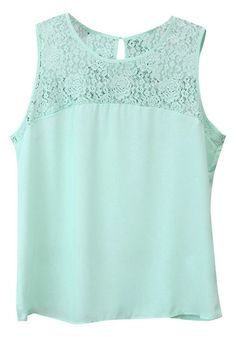 Mint Lace Tank Top - With Lace Detailing At Yoke