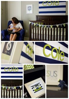 Navy and Green Nursery- add grey for a baby boy Little Mac, Little Babies, Baby Boy Rooms, Baby Boy Nurseries, Neutral Nurseries, Nursery Neutral, Navy Green Nursery, Just In Case, Just For You