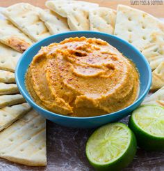 Smoky Sweet Potato Hummus- a protein-packed healthy snack that is ready in 20 minutes! sweetpeasandsaffron.com