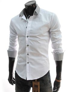 TheLees (DST6) Mens Casual Slim Fit 2 Tone Dress Shirts White Large(US Medium) TheLees,http://www.amazon.com/dp/B00AWA4UD6/ref=cm_sw_r_pi_dp_m1h-rb0VSGFQK1CQ